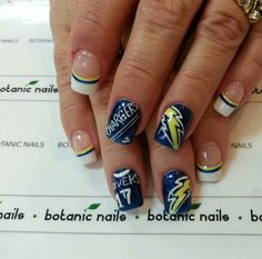 Nail Designs On Pinterest San Diego Chargers Nail Art
