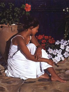 Artist: Gabriel Picart {contemporary figurative beautiful female flowers seated woman profile portrait cropped oil painting detail}