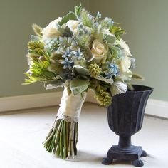 Flowers, Bouquet, Green, Blue, Ivory, Silver