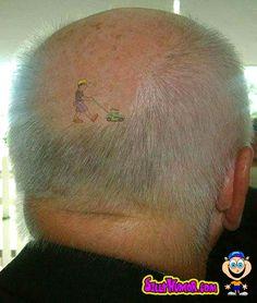 lawnmower tatoo. silly.