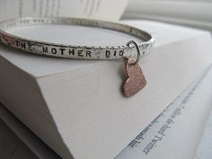 Personalized sterling silver chunky bangle with heart charm- your chosen words, quote,childrens names, dates, hand stamped on 1 or 2 sides by JoDeneMoneuseJewelry, $105.00