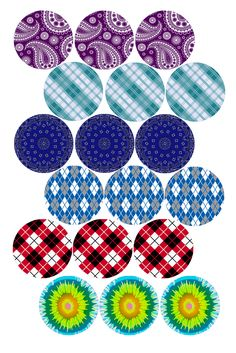 """Fabric Patterns   Bottle cap image pack  Formatted for printing on 4"""" x 6"""" photo paper"""
