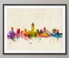skylin stretch, canvas prints, austin texas skyline, michael tompsett, stretch canva, skylin art, texa skylin, art prints, tote bag