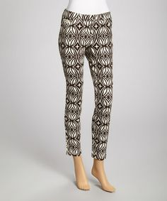 Take a look at this Ivory & Brown Stripe Pants by eci New York on #zulily today!