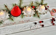Red Pear Repurposed Metal Tins Christmas Candle Holder Centerpiece via Knick of Time