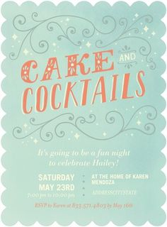 Cake and Cocktails Girly Party / Shower Invites #bridal #wedding #shower #party #invite #mint #coral