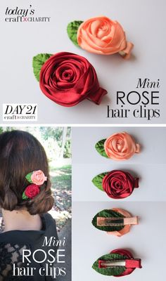 365 craft x charity: Day 21 - Mini Rose Hair Clips (2 in 1)