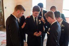 fun eclect, groomsmen pray