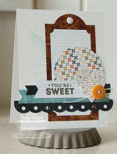 Chocolate Sentiments; Distressed Background Blocks; Dotted Scallop Border Trio Die-namics; Vertical Frame Die-namics; Fishtail Flags STAX Die-namics; Circle STAX Set 1 Die-namics; Heart STAX Die-namics - Inge Groot