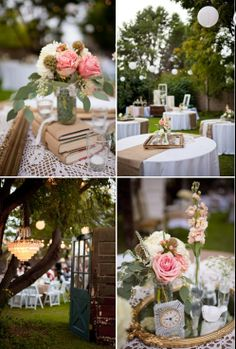burlap, mirror, table decorations, gold weddings, frames, flowers, shabby chic centerpieces, shabby chic weddings, old books