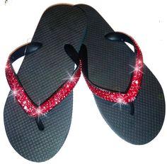 flip flops decorated in light siam Swarovski by jackijoy11 on Etsy, $44.00
