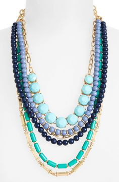 Love this blue beaded layering necklace!