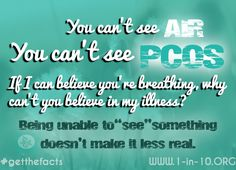 """How many times have you been told that #PCOS isn't real or that you don't """"look"""" like you have it? #1in10 #getthefacts"""