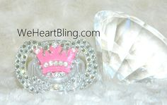 Baby Bling Rhinestone Pacifier Binky- Pink Crown on Etsy, $18.00... O my god, I love it!!! for the princesses, little princess