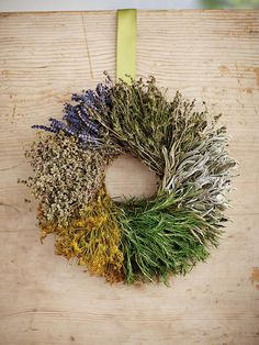 Herbal Wreath: Dried dill, savory, marjoram, sage, lavender and fresh rosemary --> http://www.hgtv.com/gardening/gardening-holiday-gift-guide/pictures/page-19.html?soc=pinterest