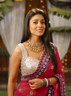 Shriya Saran in Pink Silver Combo