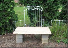 Repurpose metal crib frame in garden area
