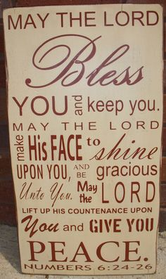 Bible Verse Numbers 6:24-26 Distressed wood sign great gift on Etsy, $30.00