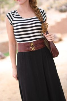 High waisted skirts define curves especially when belted