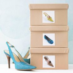 "Shoe Lover Storage  ""...Reuse original shoe boxes and cover them with decorative paper to create streamlined shoe storage. Attach a picture of the shoes to the front of the box to help you find your favorite pair""    Cool idea for your closet!  Source: BHG.com Slideshow ""Simple Solutions: Repurpose Household Items for Organizations"""
