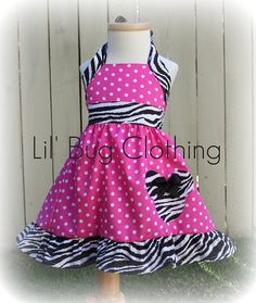 Custom Boutique Clothing Pink Polka Dot and  Zebra  Minnie Mouse Halter Dress on Etsy, $39.99