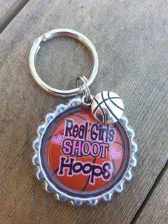 On Sale Girls Basketball Keychain Or Zipperpull - Real Girls Shoot Hoops On Sale