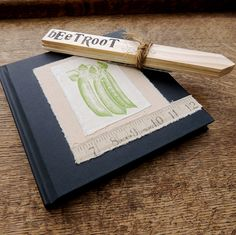 Allotment gardener's gift set - handprinted notebook journal with seed labels by Kettle of Fish Designs on Etsy