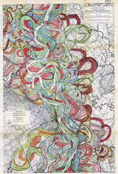 Fisk, 1944. Map of ancient courses of the Mississippi River, Cape Girardeau, MO by Harold N.Fisk, 1944. #Map #Mississippi #Alluvial_Valley