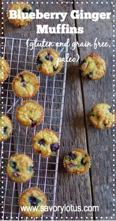Blueberry-Ginger Muffins | #glutenfree #grainfree #dairyfree #paleo