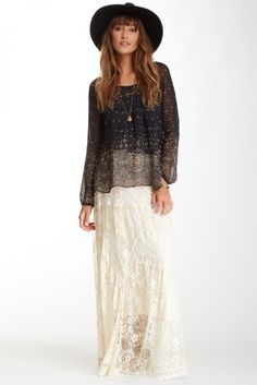 Embroidered Lace Maxi Skirt