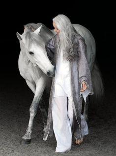 Superb photo - multi tonal gray hair looks great on both models!