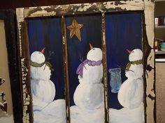 old windows painted, old screen window, paint window, window paint, snowman window