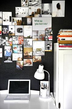 love the layout of inspiration board and black wall wall collage, office spaces, inspiration wall, bedroom decor, black walls, inspiration boards, picture collages, home offices, bedroom designs
