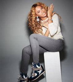 Relaxed fall outfit    Beyoncé Knowles and Elena Iachi Calf and Suede High Top Wedge Sneakers Photograph