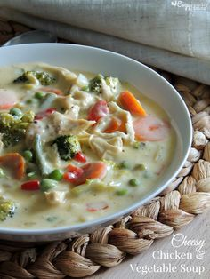 This delicious Cheesy Cheddar Chicken & Vegetable Soup is full of tender chicken & sauteed vegetables in a for a warm, satisfying meal any day of the week!