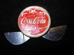 Vintage Round Coca Cola Two-Blade Pocket Knife & Cigar Cutter coin size fob