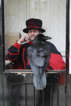 A Beefeater and Merlin the raven at the Tower , London