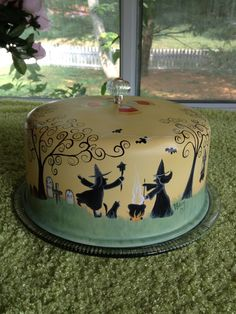 Vintage Cake Saver HP Halloween Primitive Witches Jack O Lanterns Cats | eBay