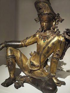 Hindu God Indra Nepal Kathmandu Valley 16th century gilt bronze with gemstones