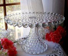 ANTIQUE DUNCAN & MILLER GLASS PEDESTAL CAKE STAND PLATE / GIANT HOBNAIL