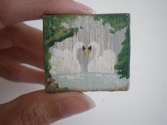 Swans in Love   Painting  Dollhouse 1 Inch by cinderellamoments, $6.00