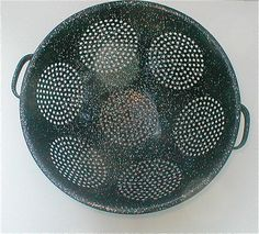 Old Enamelware Colander  Midnight Blue with by studiostebbylee, $19.00