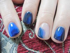 common マーク, blue watercolor, nail polish, watercolor nail, ネイル