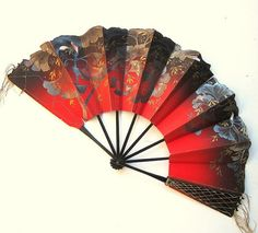 1920s Vintage Fan in Paper with Hand Painted by RiffRaffGentry, $18.00