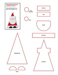 christmas cards, card template free, paper craft, card templates, felt projects, felt patterns, santa templat, triangl, christmas crafts templates