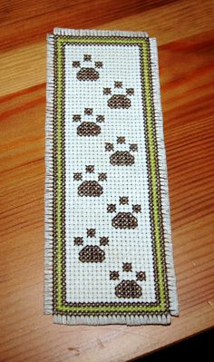 puppy paws cross stitch bookmark