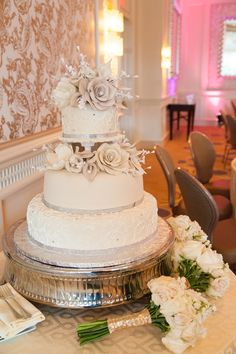 Elegant wedding cake in our #Boston ballroom.