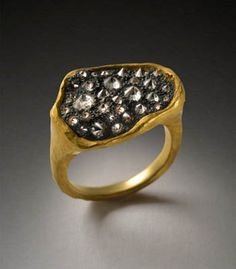 Todd Pownell: Black Top, 18k yellow gold ring with irregular shaped top, 20 x 14 mm,of oxidized silver set with pave inverted diamonds.