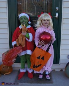The Grinch and Cindy Lou Who - Halloween Costume Contest via @costumeworks