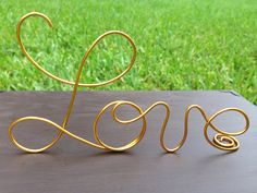 Gold Wire Love wedding Cake Toppers  Decoration  by WeddingPros, $12.00